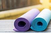 yoga mat on table, fitness healthy and sport concept