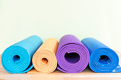 yoga mats on the table