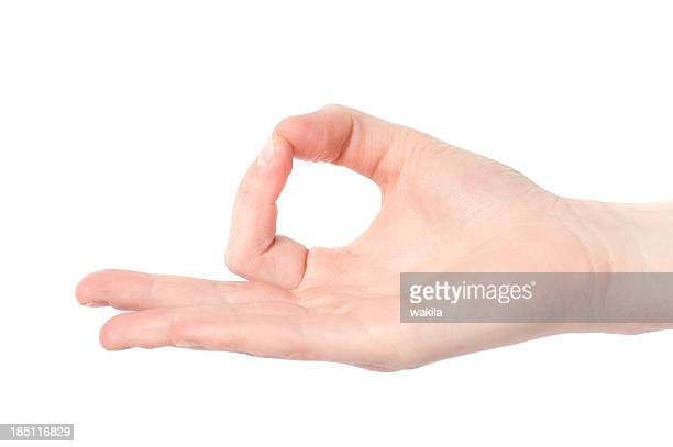 Yoga mudra with hand on white background