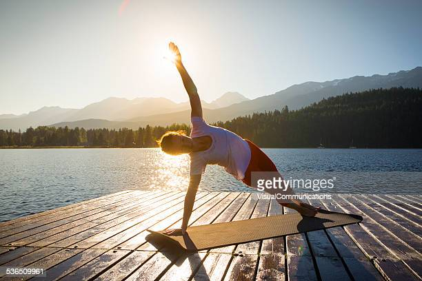 Yoga on lake