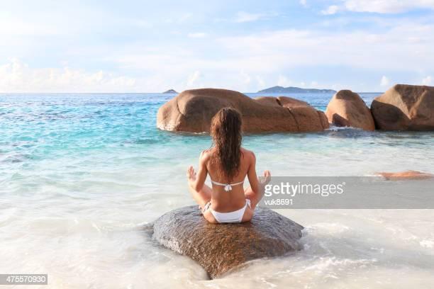 Yoga on the beautiful beach