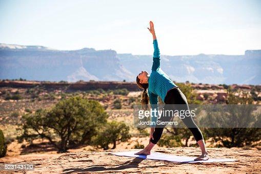 Yoga outside in the high desert.
