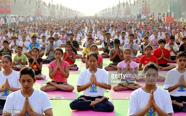Yoga practitioners participate in a full dress rehearsal for International Yoga Day at Rajpath on June 19 New Delhi India