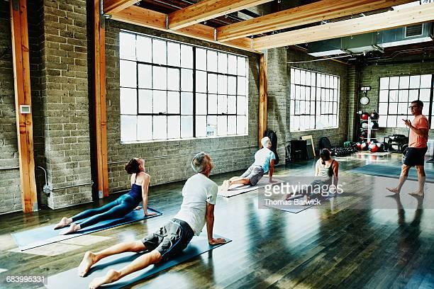 Yoga students in upward facing dog pose
