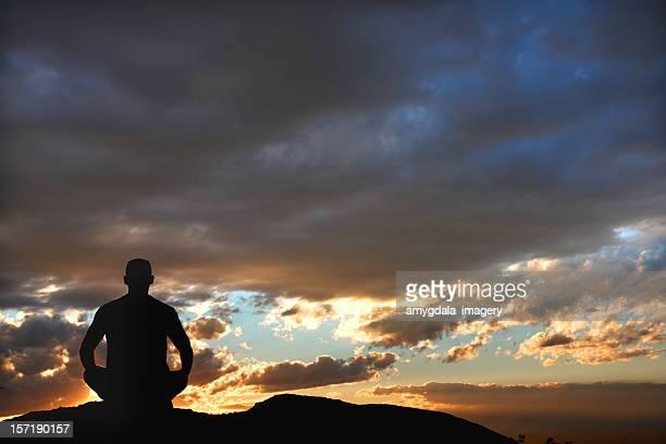 yoga sunset silhouette landscape