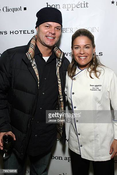 Yoga Trainer Barron Baptiste and Executive Chef Cat Cora attend the Polliwood Dinner hosted by Bon Appetit Supper Club on January 20 2008 in Park...