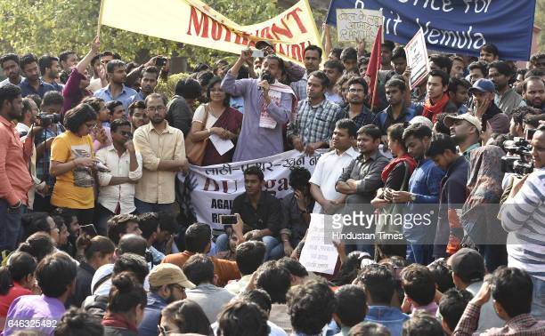 Yogendra Yadav addressing the students and teachers during the AISA JNUTA and Delhi University Students' protest march against ABVP wing after 22nd...