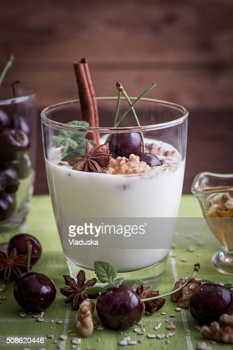 Yoghurt with Cherries : Stock Photo