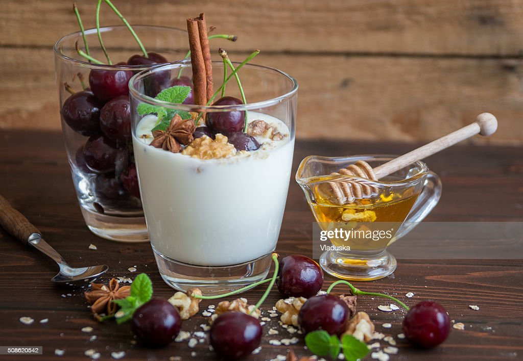 Yoghurt with Cherries : Stock Photo