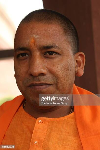 Yogi Adityanath BJP Member of Parliament from Gorakhpur Uttar Pradesh at Parliament House in New Delhi India