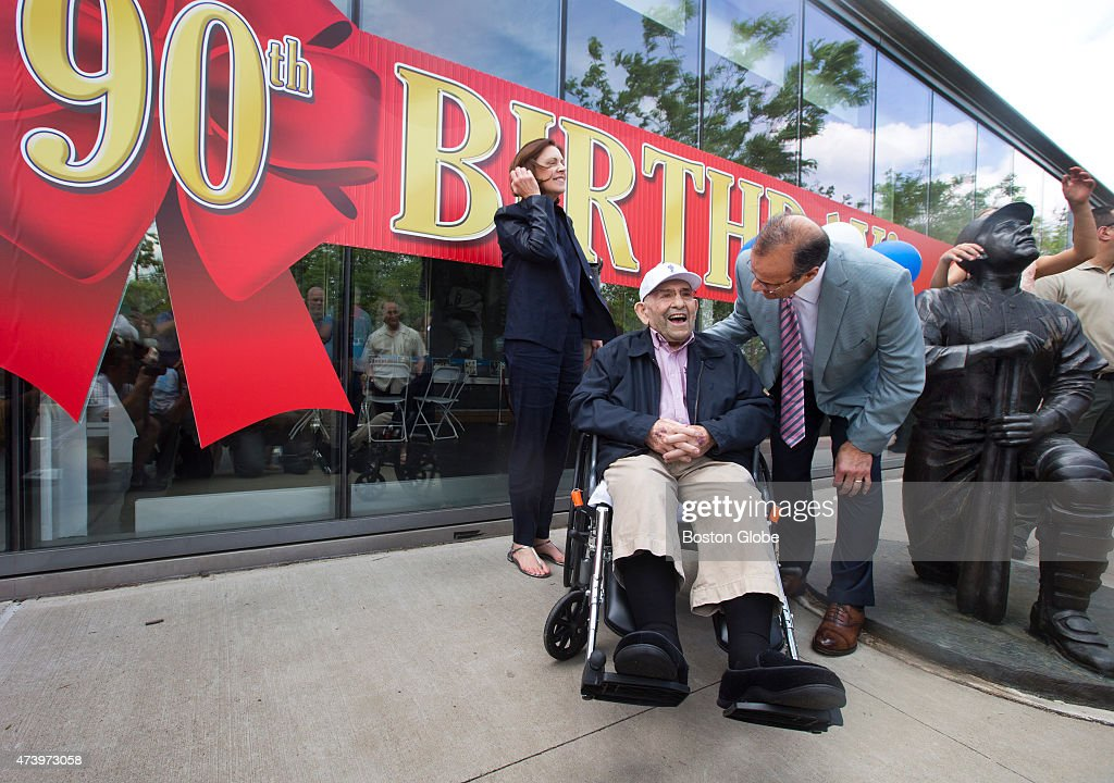 Yogi Berra celebrating his 90th birthday outside the Yogi Berra Museum and Learning Center with his friend Joe Torre