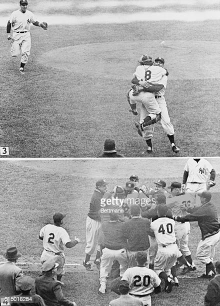 Yogi Berra jumps up and down as he hugs teammate Don Larsen following Larsen's feat of pitching the first perfect game in World Series history in the...
