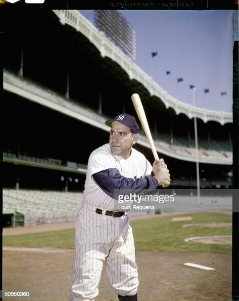 Yogi Berra of the New York Yankees poses for a portrait at Yankee Stadium in Bronx New York circa 1956 Berra played for the Yankees from 19461963