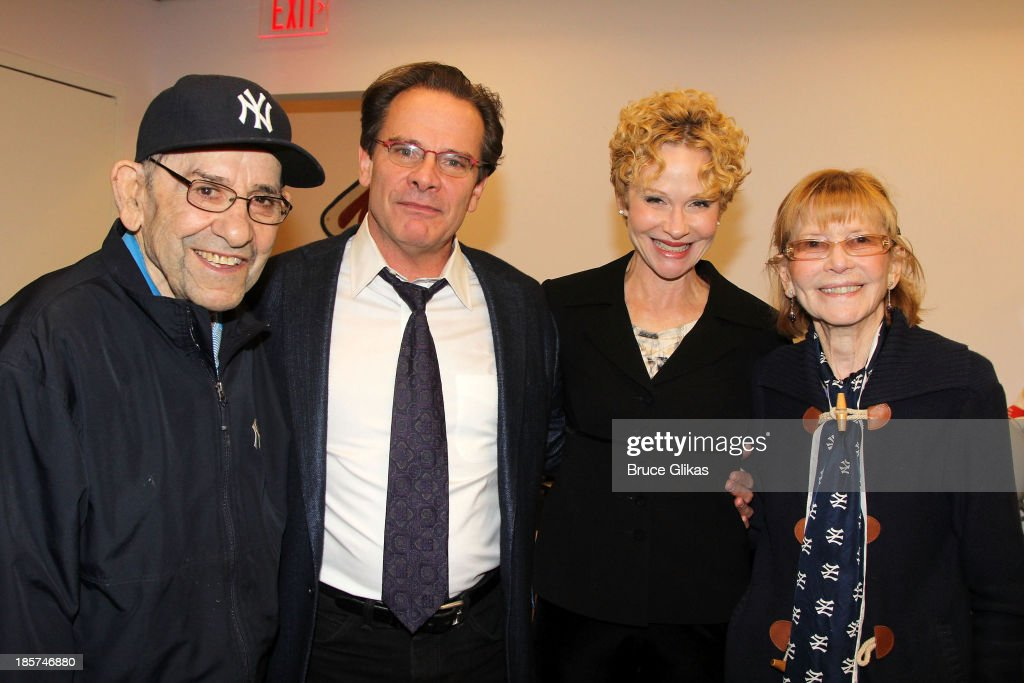 <a gi-track='captionPersonalityLinkClicked' href=/galleries/search?phrase=Yogi+Berra&family=editorial&specificpeople=94270 ng-click='$event.stopPropagation()'>Yogi Berra</a>, <a gi-track='captionPersonalityLinkClicked' href=/galleries/search?phrase=Peter+Scolari&family=editorial&specificpeople=957072 ng-click='$event.stopPropagation()'>Peter Scolari</a>, wife Tracy Shayne and Carmen Berra pose at Yogi's annual World Series viewing party while meeting the cast of Broadway's 'Bronx Bombers' at <a gi-track='captionPersonalityLinkClicked' href=/galleries/search?phrase=Yogi+Berra&family=editorial&specificpeople=94270 ng-click='$event.stopPropagation()'>Yogi Berra</a> Museum & Learning Center on October 24, 2013 in Little Falls, New Jersey.