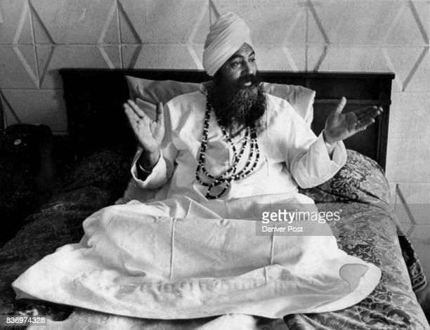Yogi Bhajan Seems Quite at Home in his Motel Room He attended World Invocation Day in Boulder 'international festival of goodwill' Credit Denver Post