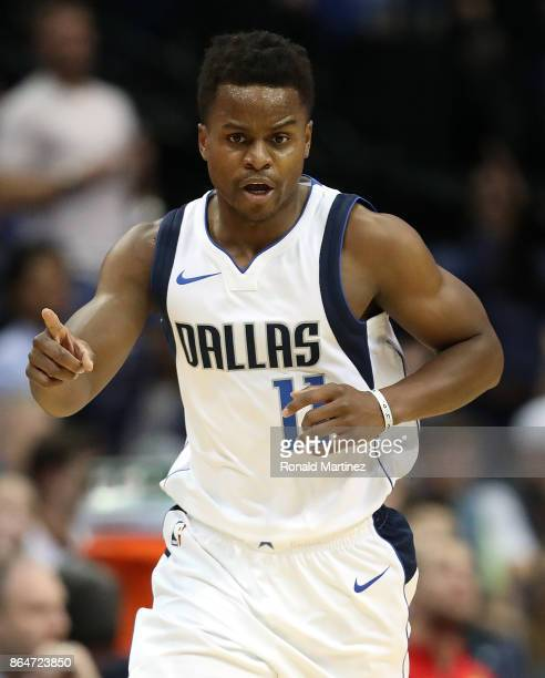 Yogi Ferrell of the Dallas Mavericks at American Airlines Center on October 18 2017 in Dallas Texas NOTE TO USER User expressly acknowledges and...