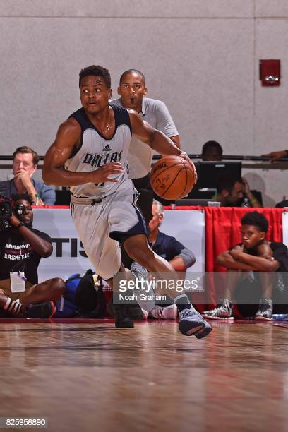 Yogi Ferrell of the Dallas Mavericks dribbles the ball during the 2017 Las Vegas Summer League game against the Miami Heat on July 11 2017 at Cox...
