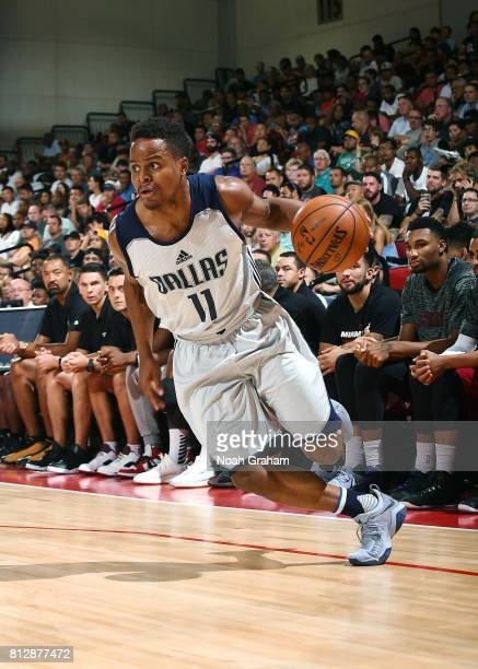Yogi Ferrell of the Dallas Mavericks handles the ball against the Miami Heat during the 2017 Summer League on July 11 2017 at Cox Pavillion in Las...