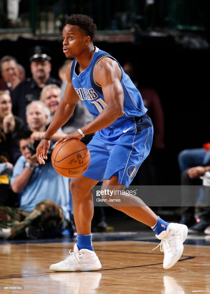 Yogi Ferrell #11 of the Dallas Mavericks handles the ball against the Philadelphia 76ers on October 28, 2017 at the American Airlines Center in Dallas, Texas.