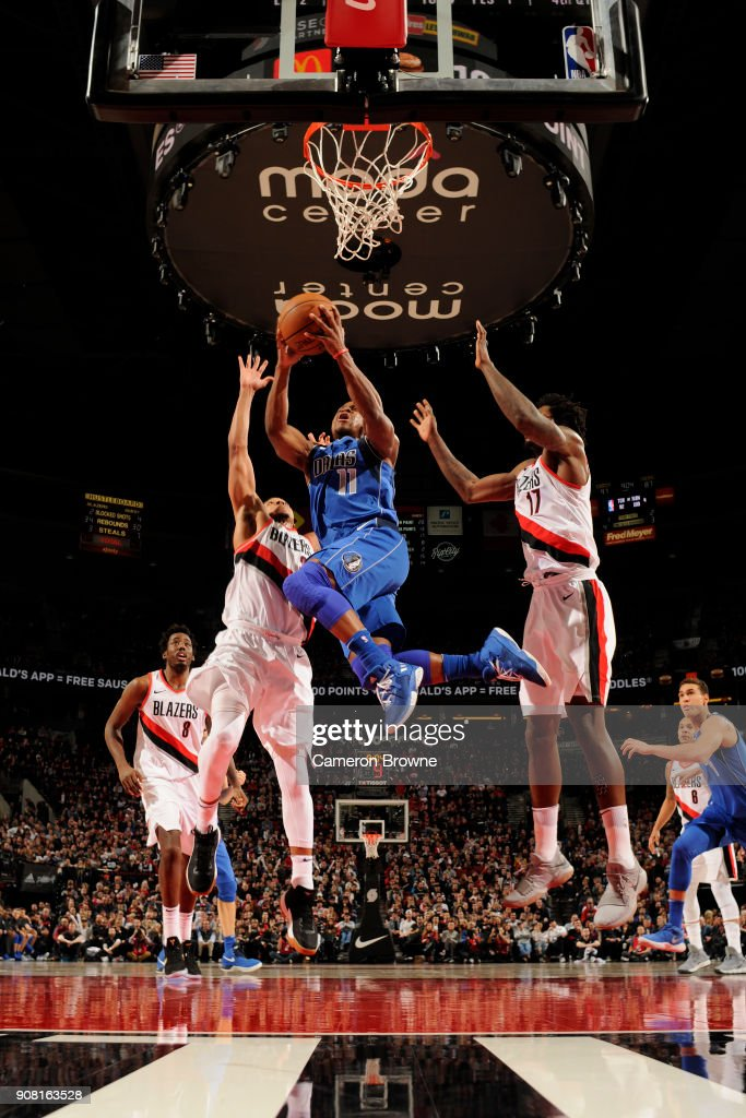Yogi Ferrell #11 of the Dallas Mavericks handles the ball against the Portland Trail Blazers on January 20, 2018 at the Moda Center in Portland, Oregon.