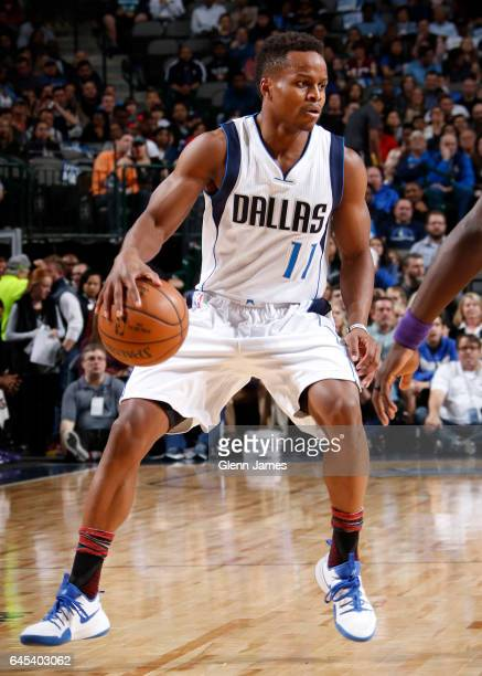 Yogi Ferrell of the Dallas Mavericks handles the ball during a game against the New Orleans Pelicans on February 25 2017 at American Airlines Center...