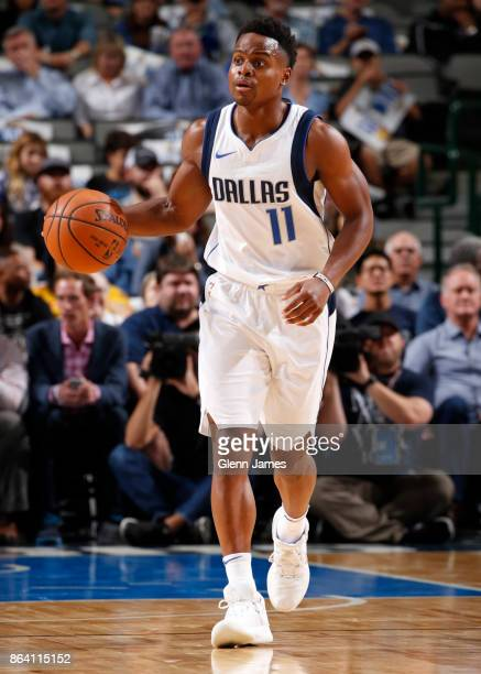 Yogi Ferrell of the Dallas Mavericks handles the ball during the game against the Sacramento Kings on October 20 2017 at the American Airlines Center...