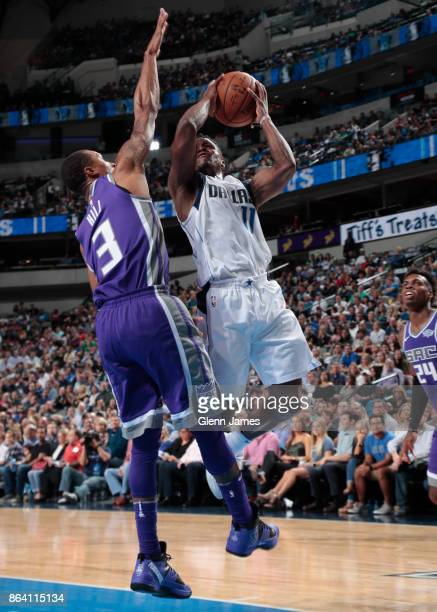 Yogi Ferrell of the Dallas Mavericks shoots the ball during the game against the Sacramento Kings on October 20 2017 at the American Airlines Center...