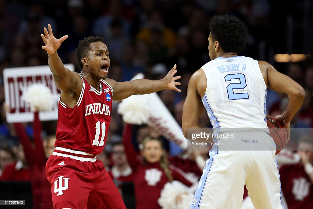 Yogi Ferrell #11 of the Indiana Hoosiers defends Joel Berry II #2 of the North Carolina Tar Heels in the first half during the 2016 NCAA Men's Basketball Tournament East Regional at Wells Fargo Center on March 25, 2016 in Philadelphia, Pennsylvania.