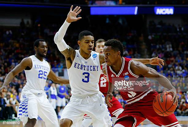 Yogi Ferrell of the Indiana Hoosiers drives against Tyler Ulis of the Kentucky Wildcats in the second half during the second round of the 2016 NCAA...