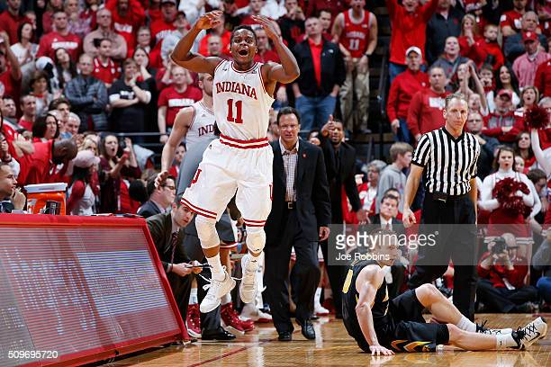 Yogi Ferrell of the Indiana Hoosiers reacts after being called for a foul against Mike Gesell of the Iowa Hawkeyes in the second half of the game at...