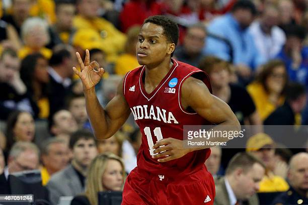 Yogi Ferrell of the Indiana Hoosiers reacts after hitting a shot against the Wichita State Shockers during the second round of the 2015 NCAA Men's...