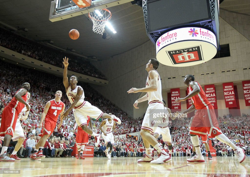 Yogi Ferrell #11 of the Indiana Hoosiers shooots the ball during the game against the Ohio State Buckeyes at Assembly Hall on March 5, 2013 in Bloomington, Indiana.