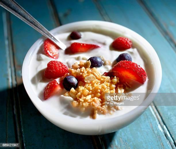 Yogurt bowl on blue door