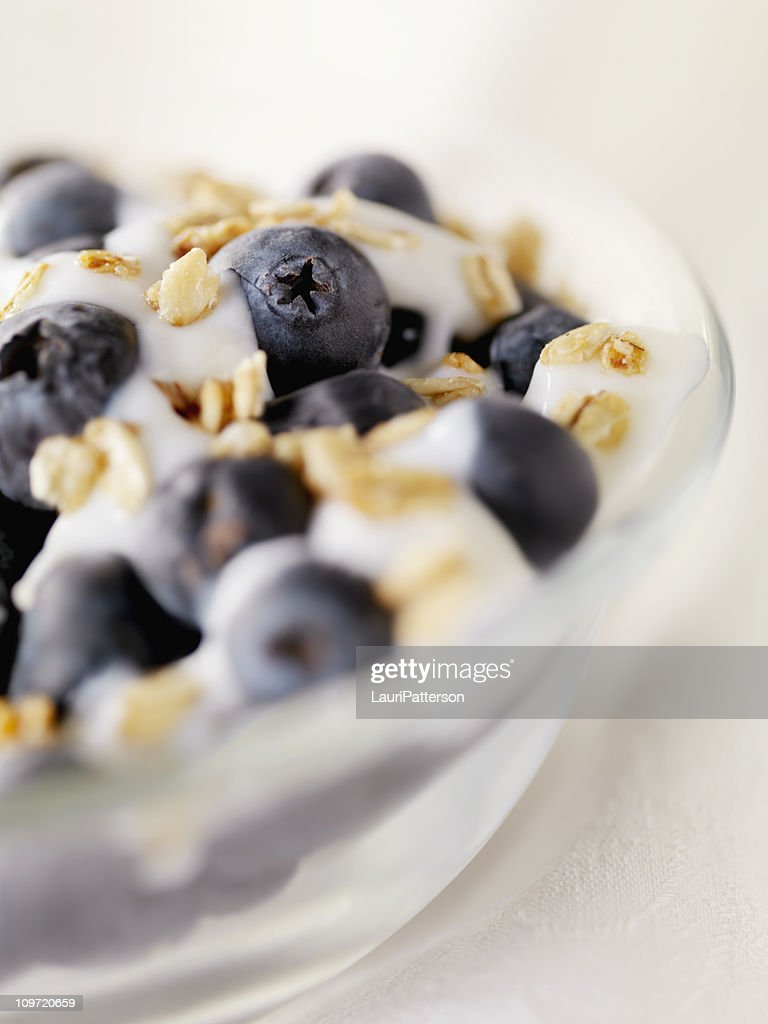 Yogurt with Blueberries and Granola : Stock Photo