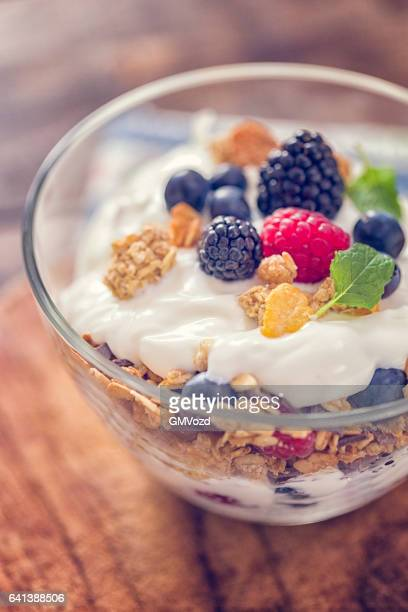 Yogurt with Fresh Berries and Cereals