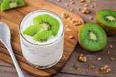 Yogurt with kiwi in glass