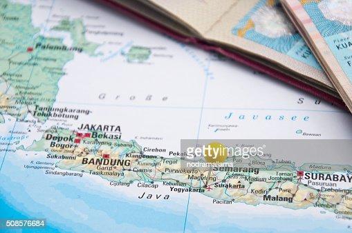 Yogyakarta, Java, Indonesia, Yellow Pin and Passport, Close-Up o : Stock Photo