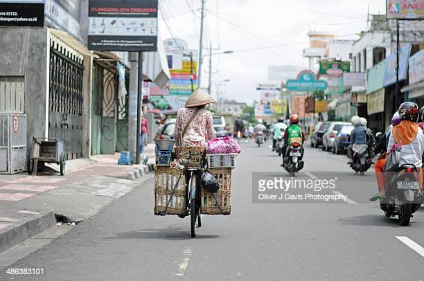Yogyakarta Street Cyclist and Motorbike Traffic