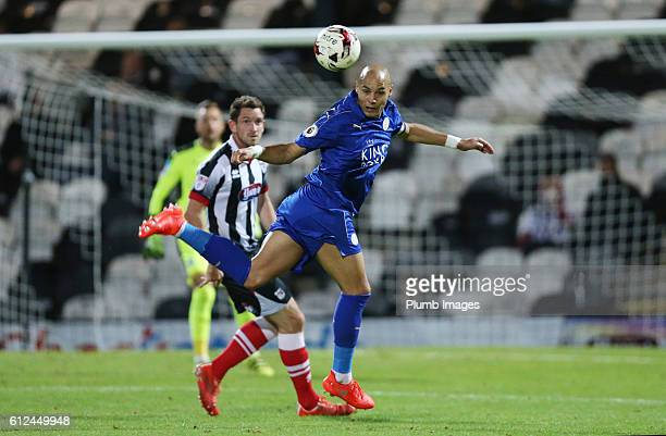 Yohan Benalouane of Leicester City in action during the checkatrade Trophy match between Grimsby Town and Leicester City at Blundell Park on October...