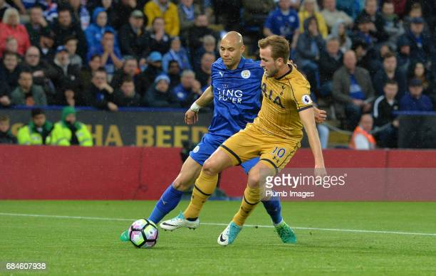 Yohan Benalouane of Leicester City in action with Harry Kane of Tottenham Hotspur during the Premier League match between Leicester City and...