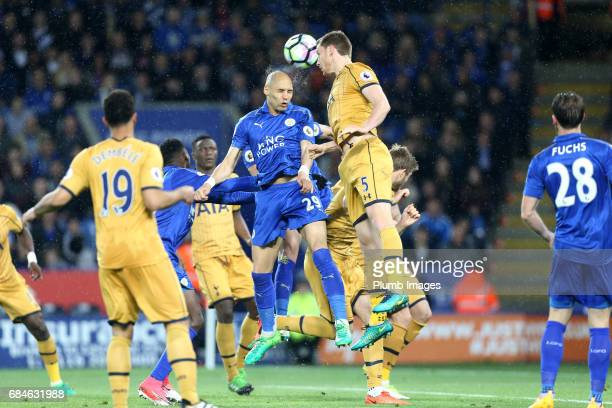 Yohan Benalouane of Leicester City in action with Jan Vertonghen of Tottenham Hotspur during the Premier League match between Leicester City and...