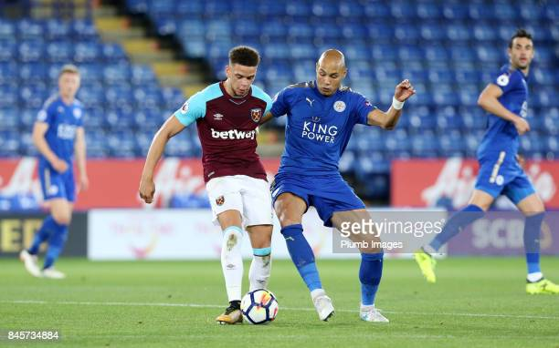 Yohan Benalouane of Leicester City in action with Marcus Browne of West Ham United during the Premier League 2 match between Leicester City and West...