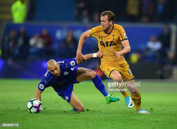 Yohan Benalouane of Leicester City tackles Harry Kane of Tottenham Hotspur during the Premier League match between Leicester City and Tottenham...