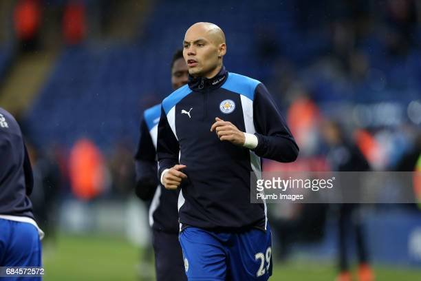 Yohan Benalouane of Leicester City warms up ahead of the Premier League match between Leicester City and Tottenham Hotspur at King Power Stadium on...