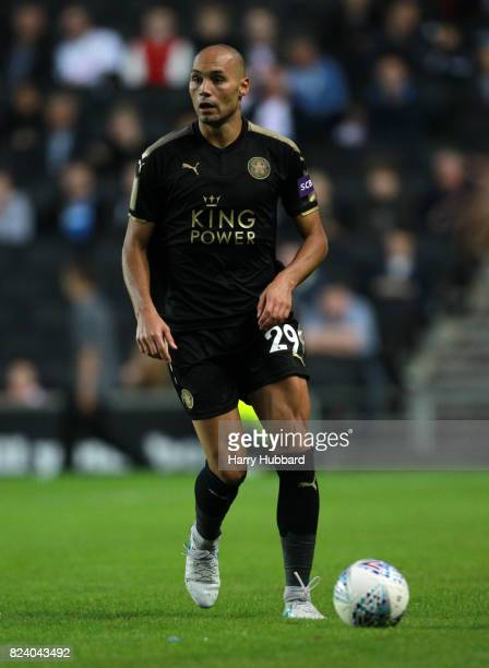 Yohan Benalouane of Leicester in action during the preseason friendly match between MK Dons and Leicester City at StadiumMK on July 28 2017 in Milton...