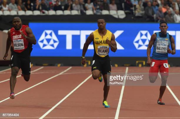Yohan BLAKE Jamaica Alex WILSON Switzerland Bernardo BALOYES Colombia during 200 meter heats in London on August 7 2017 at the 2017 IAAF World...
