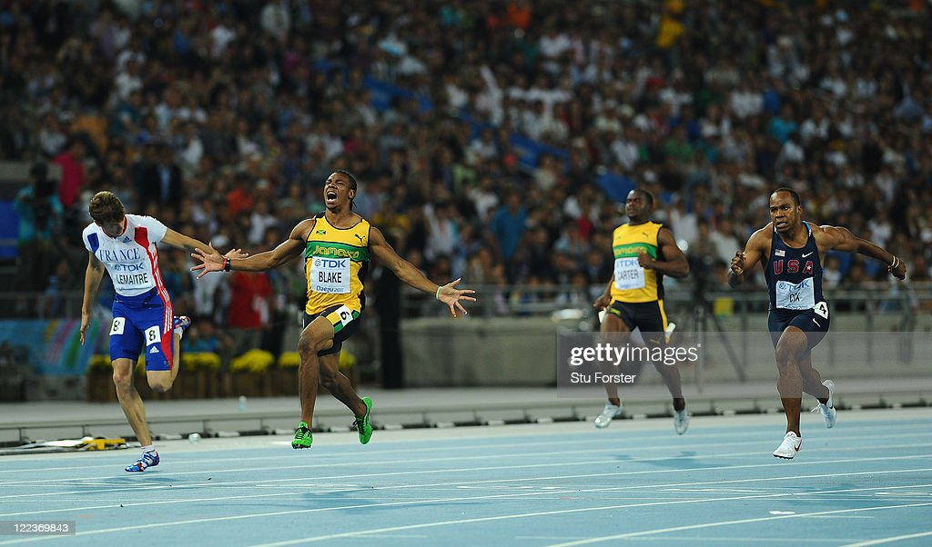 <a gi-track='captionPersonalityLinkClicked' href=/galleries/search?phrase=Yohan+Blake&family=editorial&specificpeople=2172755 ng-click='$event.stopPropagation()'>Yohan Blake</a> (2nd L) of Jamaica celebrates winning the men's 100 metres final during day two of the 13th IAAF World Athletics Championships at the Daegu Stadium on August 28, 2011 in Daegu, South Korea.