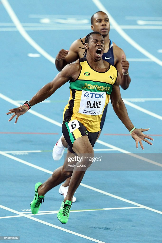 <a gi-track='captionPersonalityLinkClicked' href=/galleries/search?phrase=Yohan+Blake&family=editorial&specificpeople=2172755 ng-click='$event.stopPropagation()'>Yohan Blake</a> (L) of Jamaica celebrates winning the men's 100 metres final ahead of <a gi-track='captionPersonalityLinkClicked' href=/galleries/search?phrase=Walter+Dix&family=editorial&specificpeople=2335418 ng-click='$event.stopPropagation()'>Walter Dix</a> of United States during day two of the 13th IAAF World Athletics Championships at the Daegu Stadium on August 28, 2011 in Daegu, South Korea.