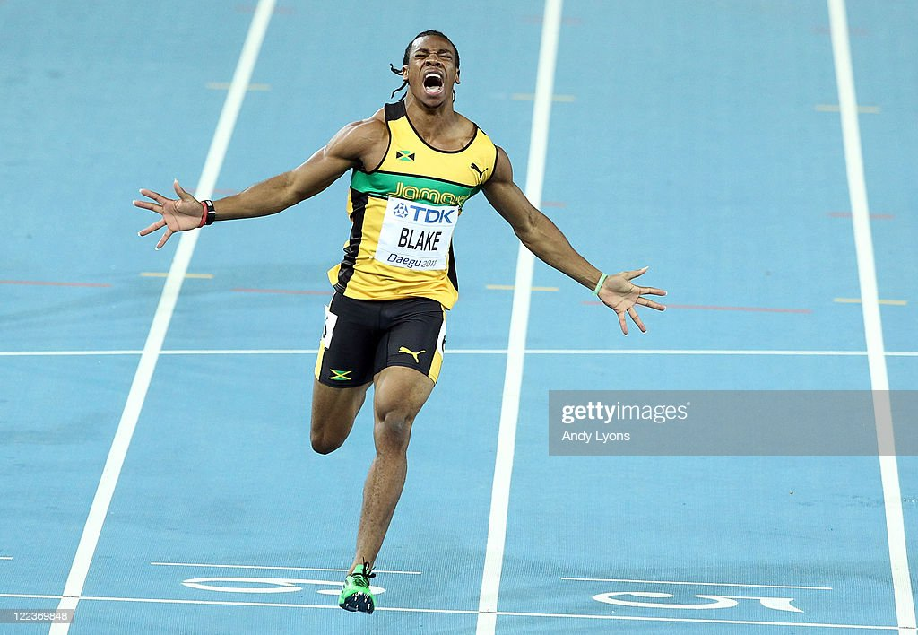 <a gi-track='captionPersonalityLinkClicked' href=/galleries/search?phrase=Yohan+Blake&family=editorial&specificpeople=2172755 ng-click='$event.stopPropagation()'>Yohan Blake</a> of Jamaica celebrates winning the men's 100 metres final during day two of the 13th IAAF World Athletics Championships at the Daegu Stadium on August 28, 2011 in Daegu, South Korea.