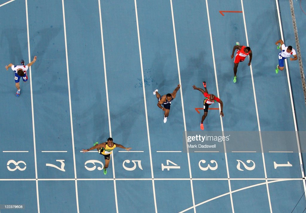 Yohan Blake (2nd L) of Jamaica celebrates winning the men's 100 metres final ahead of Walter Dix (3rd L) of United States and Kim Collins (3rd R) of Saint Kitts and Nevis during day two of the 13th IAAF World Athletics Championships at the Daegu Stadium on August 28, 2011 in Daegu, South Korea.